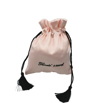 High Quality delicate environmental protect high grade gift bag double layer thickened silk cloth bag with tassel