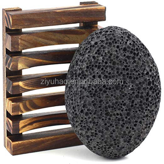 Pumice Stone for Feet - Best Foot Scrubber Callus Remover for Dead Skin - Includes Wooden Bath Tray