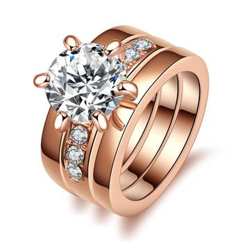 d2318b7a8 Luxury Lady Jewelry Sets Fashion Six Prong Setting Rose Gold Big Diamond  Rings