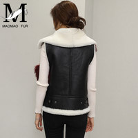 Popular Sheep Skin Fur Made Vest Women Ladies Leather Vest Pattern
