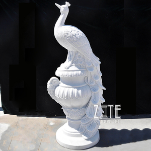 Outdoor Garden Decoration Flower Pot with White Marble Stone Peacock Statue