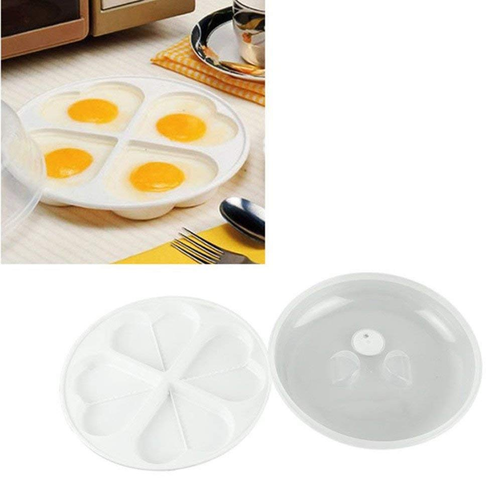 Modern Novelty Kitchen Tools Microwave Oven 4 Eggs Heart-shaped Poacher Cooker Steamer Cook Cookware.
