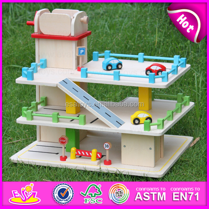2015 hot item kids wooden parking garage toychildren car parking garage toy christmas