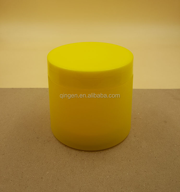 300 ml double wall yellow color cosmetic jar with frosted outer cover