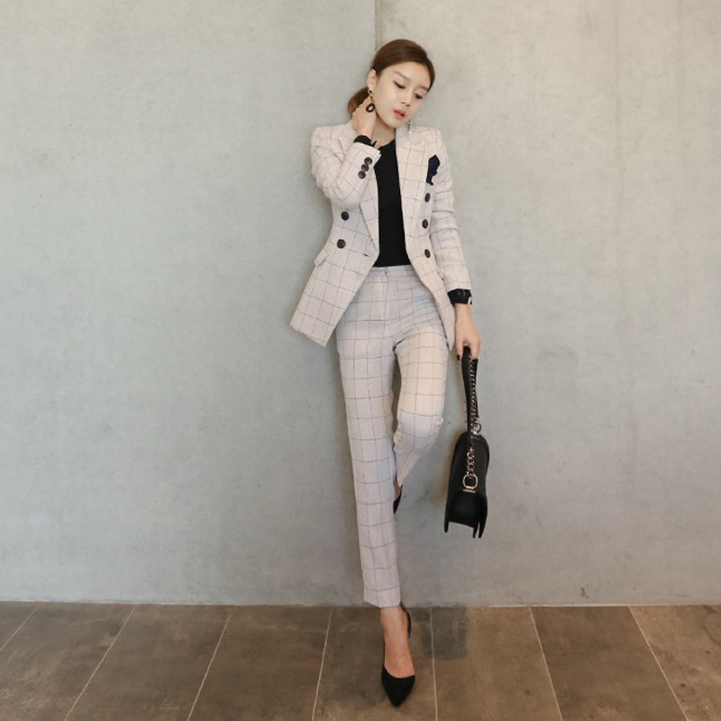 Koreaanse Stijl Slim Fit Pak Lange Mouw Mode Dames Office Suits