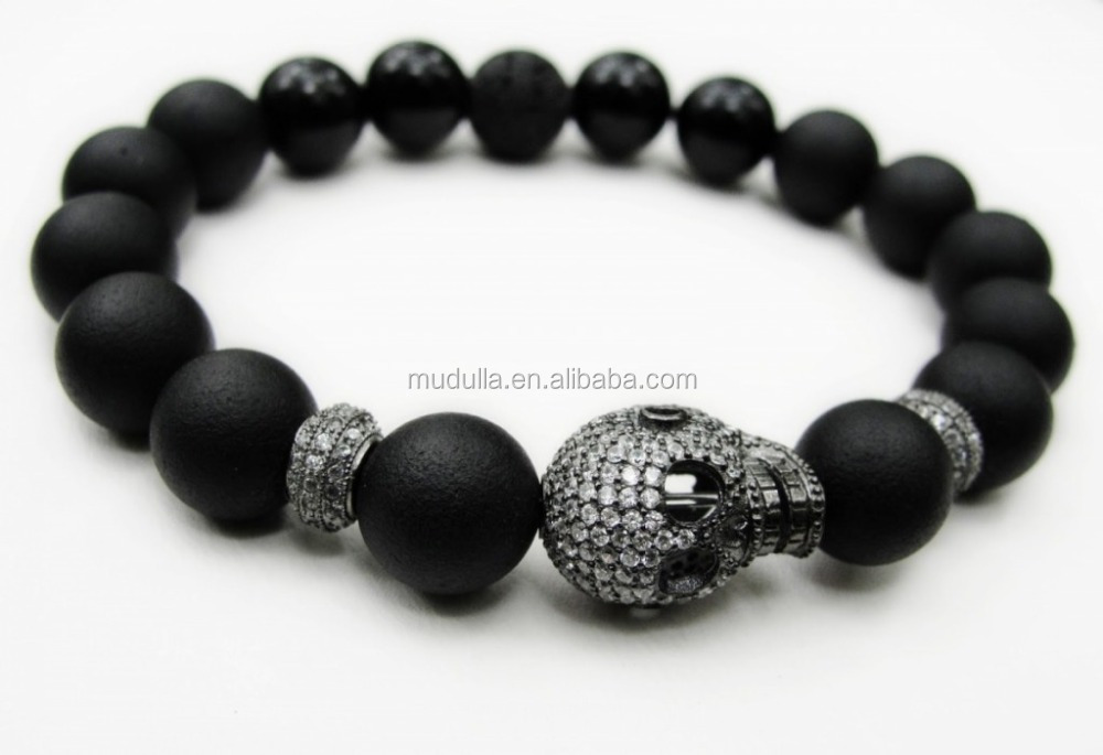 simple item agate onyx charm handmade black antique shamballa matte beaded mens bracelet boho