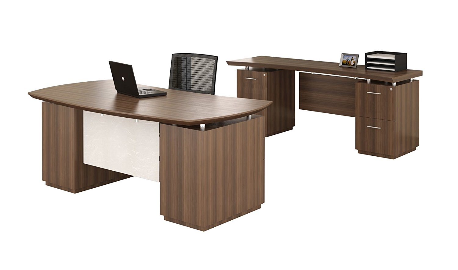 "Mayline Desk & Credenza Set Desk Dimensions: 72""W X 39""D X 29.5""H Credenza Dimensions: 72""W X 24""D X 29.5""H Both Desk & Credenza Feature 1 5/8"" Thick Work Surface - Textured Brown Sugar"