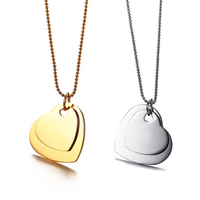 Fashion silver gold Jewelry 2019 stainless steel ball chain necklaces simple double dainty heart pendant necklace for women