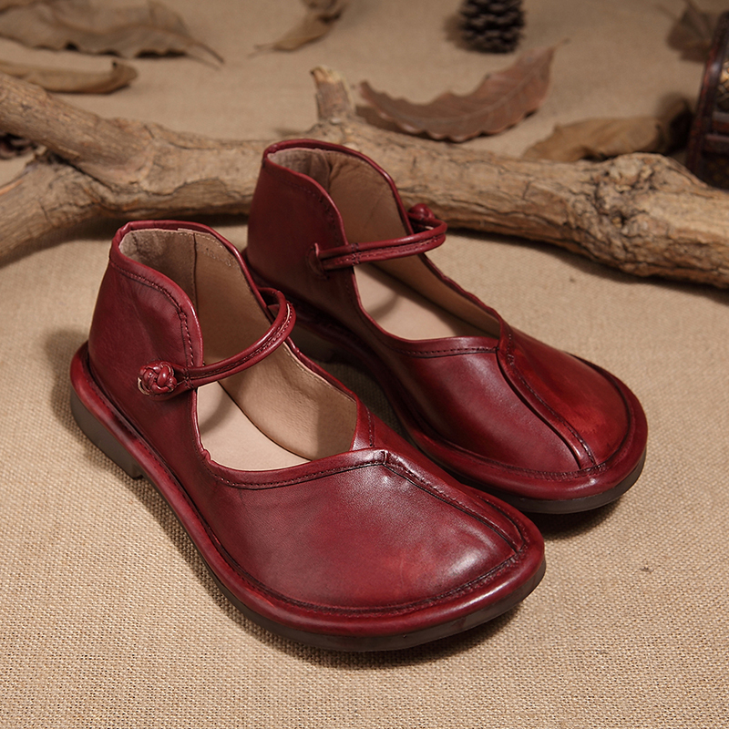 Handmade Vintage Strap Casual Flat Shoes Women Genuine Leather Buckle Heel rrnxdfSq