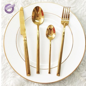 QT03500 cheap high quality bling bling gold cutlery sets wholesale for restaurant