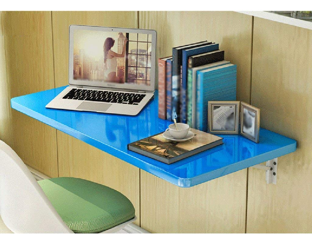 Mmdp Wall-mounted Desk 6040cm Foldable Dining Table Office Table Computer Desk Learning Table Color Optional (Color : Blue)