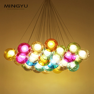 Party Decorations LED Multicolor Fancy Bar Pendant Lights Modern Glass Ball Chandelier