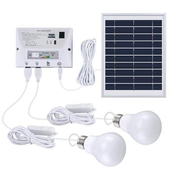Solar Lighting System Portable Home Light Kit With Panel Controller 2 Led Bulbs 3 Usb Ports And 1 Cable For Indoor