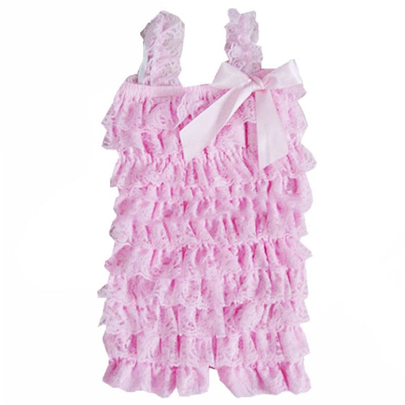 5ea39129a6a 2015 Cute Petti Baby Girl Lace Romper with Straps and Ribbon Bow Infant  Jumpsuit 31 Colors Summer Newborn Toddler Baby Rompers