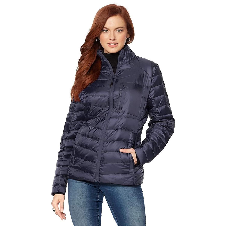 Queenmore Womens Lightweight Down Coat with Fur Hood Winter Feather Jacket Water-Resistant