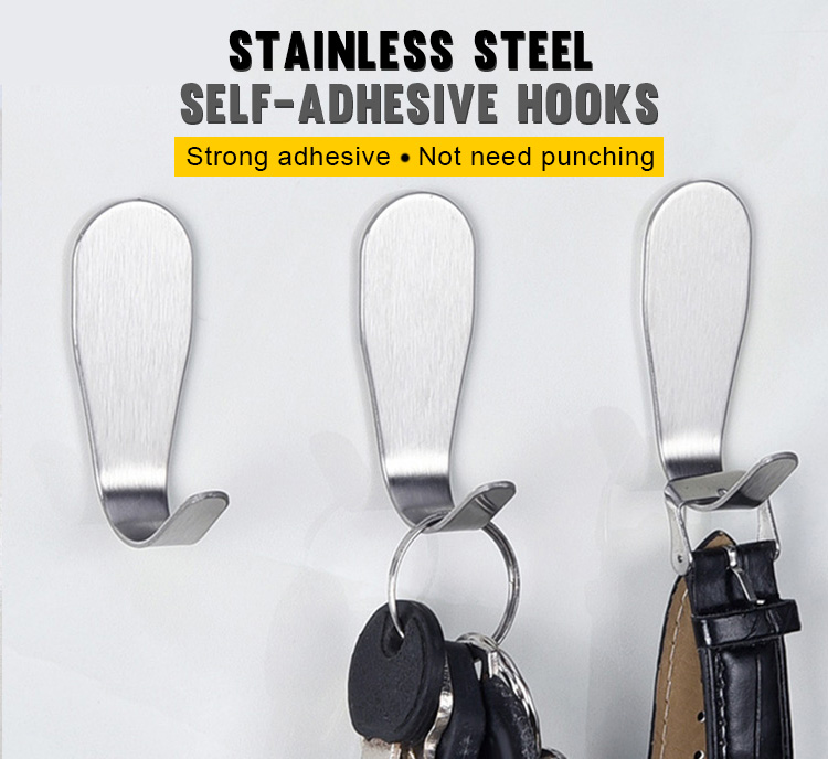 Factory Price Stainless steel strong stick wood big long tiny command school flat single adhesive door wall metal coat hooks