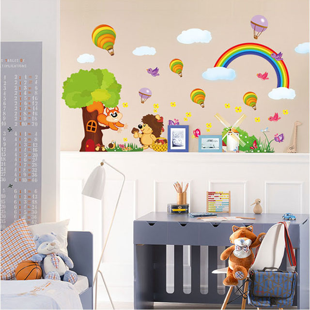 [Saturday Monopoly] diy home decor pastoral style cartoon cute forest animals wall stickers baby decals decorate vinilo infantil