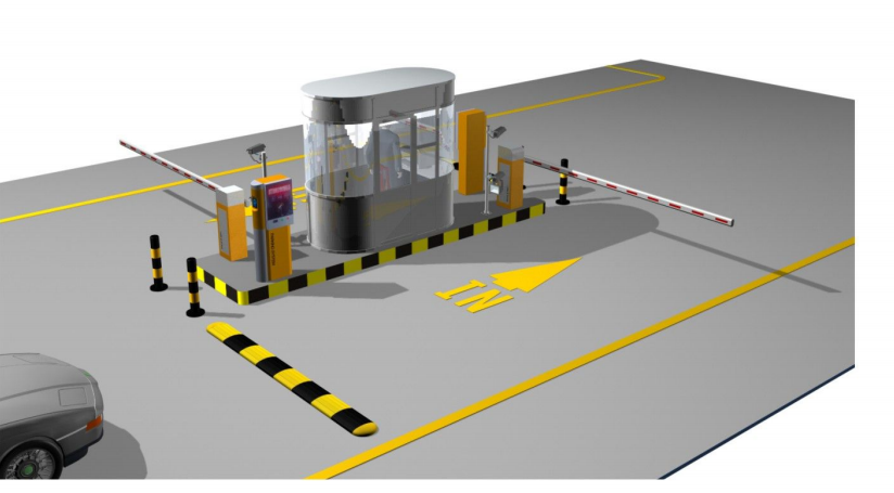 Rfid card vehicle access control system with barrier gate