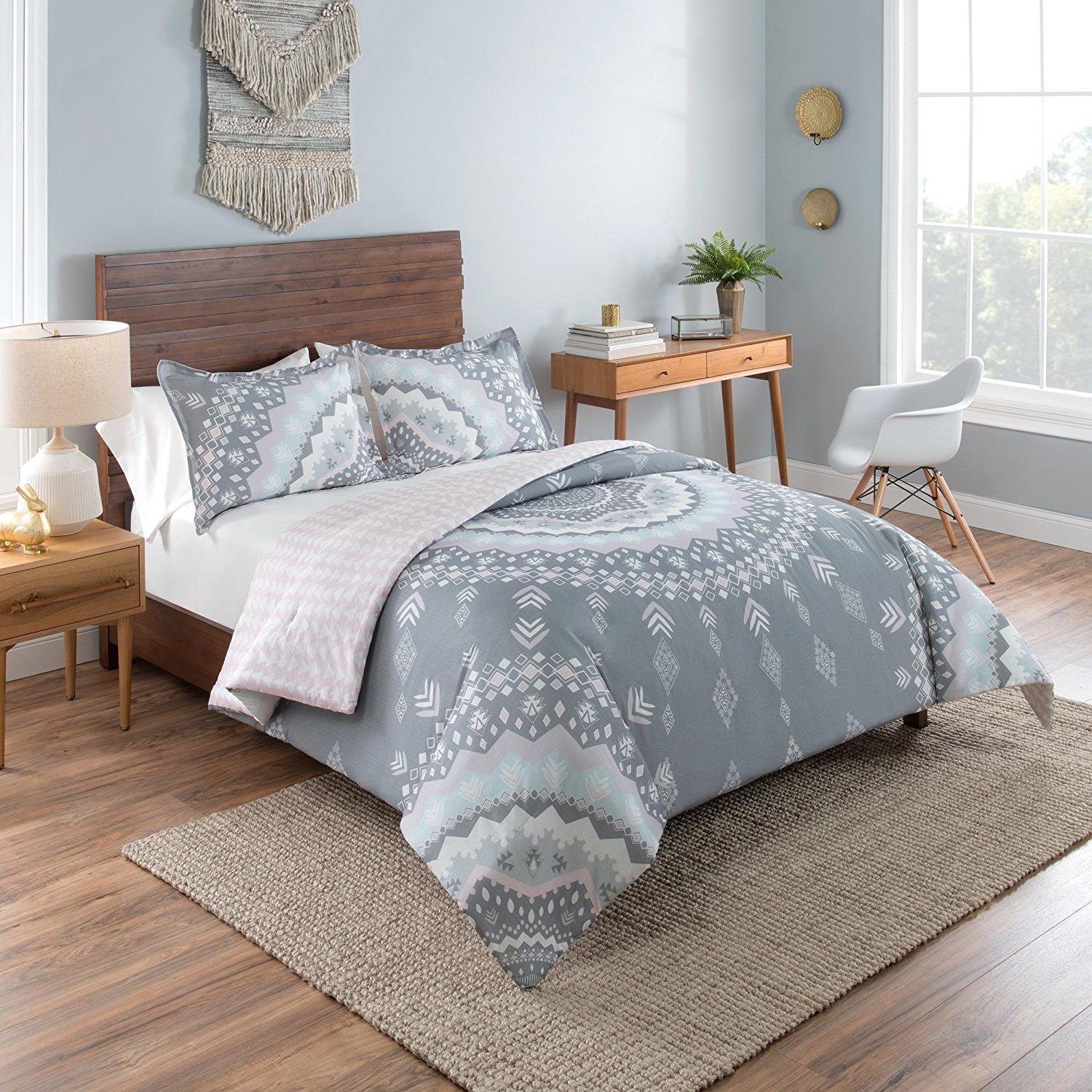 OSD 3pc Girls Light Pink White Grey Bohemian Mandala Comforter King Set, Gray, Girly Tribal Southwest Arrow Bedding, Boho Chic Tribe Southwestern Native American Themed Pattern