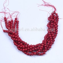 Red coral beads smooth dyed natural red coral beads wholesale