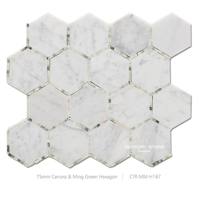 century 3 inch carrara mix ming bao polished marble hexagon mosaic tile flooring for bathroom