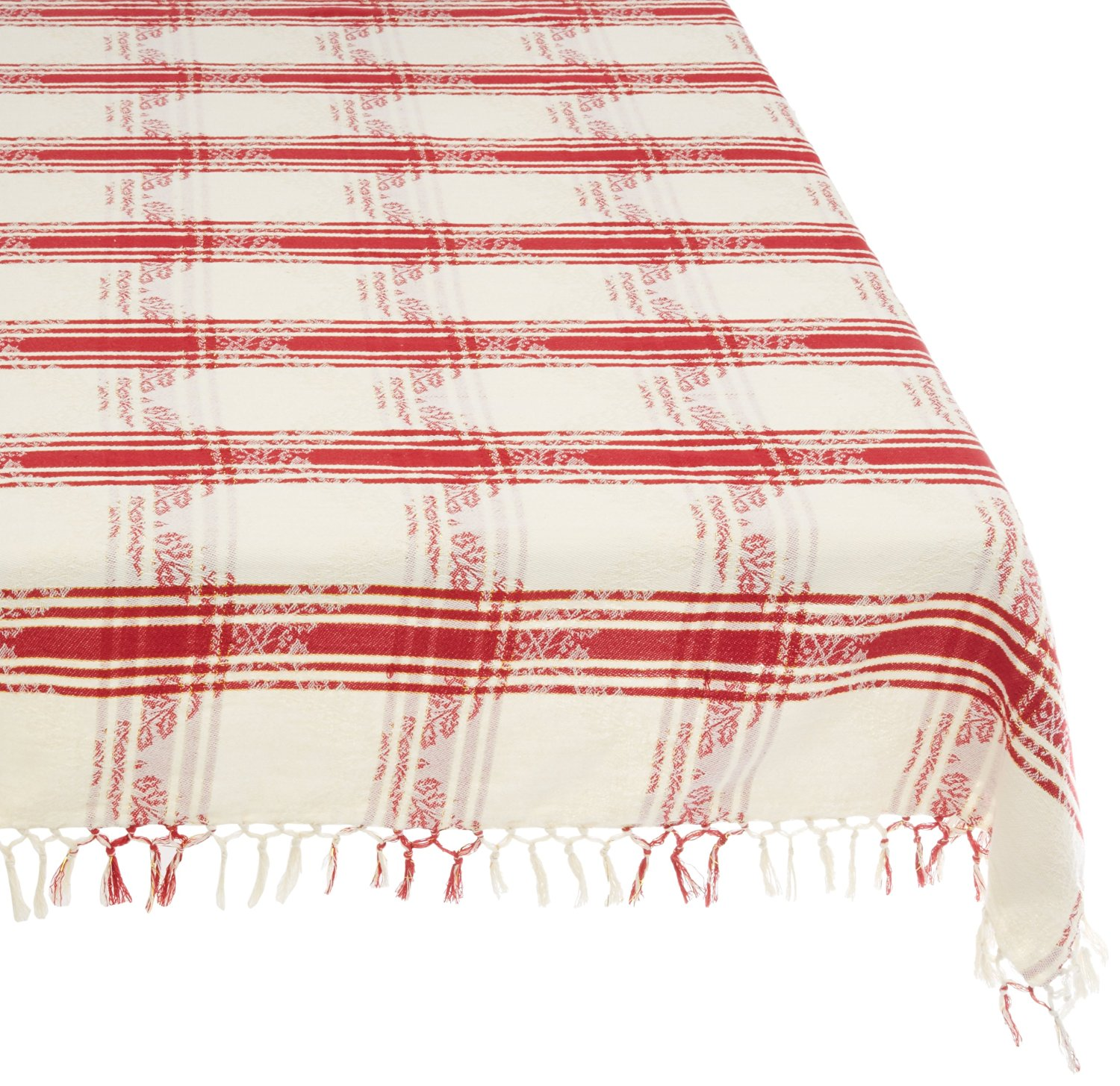 Mahogany Holly Rectangle Jacquard Tablecloth, 60 by 90-Inch, White Plaid with Lurex Strips and Red Plaid