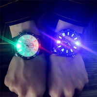 Couple Cool Watch, Fashion Unisex LED Fashion Leather Band Analog Quartz Watches
