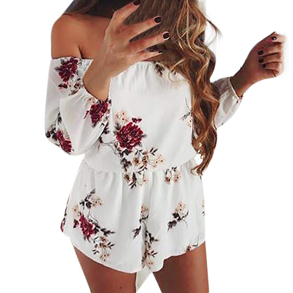 ace8d9f9ee7 Get Quotations · Rompers and Jumpsuits for Women Ladies Summer Floral Off  Shoulder Playsuit Jumpsuits and Rompers Shorts Casual