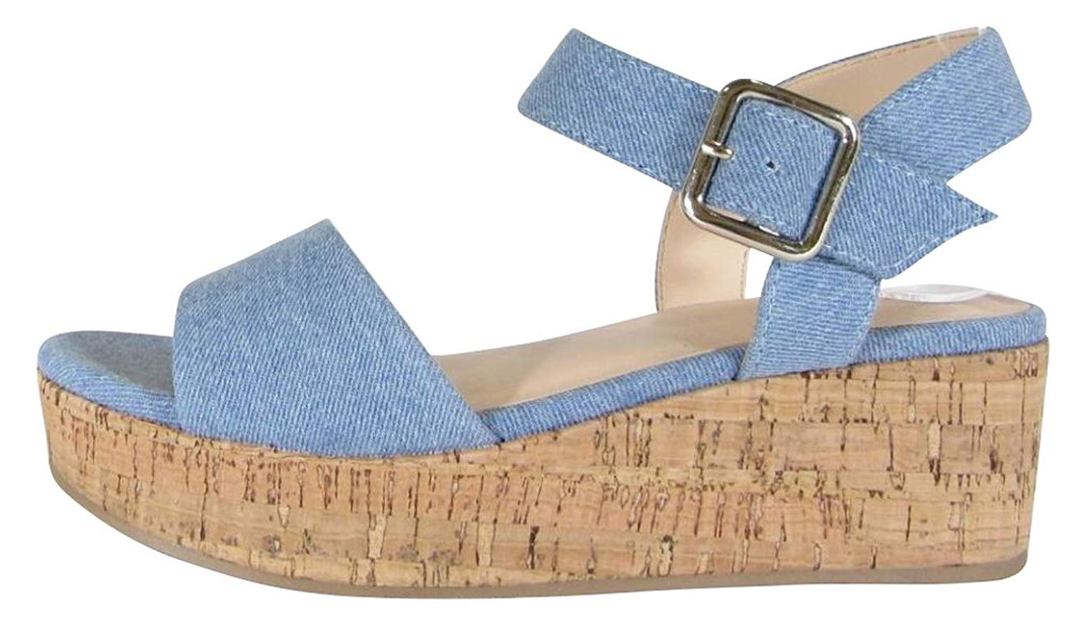 d70ae40bbd1 Get Quotations · Cambridge Select Women s Open Toe Single Band Buckled  Ankle Strap Chunky Platform Wedge Sandal