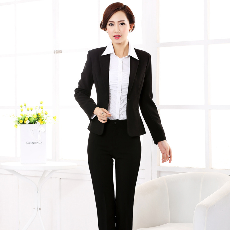 2014 Krean Style Professional Working Suit For Women Formal Blazer With  Pants One Botton Black . bce05f4adc