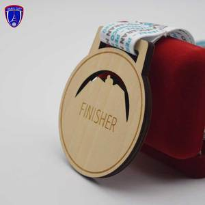 Factory Custom Cheap running sport award wooden trophies and medals China awards with ribbon
