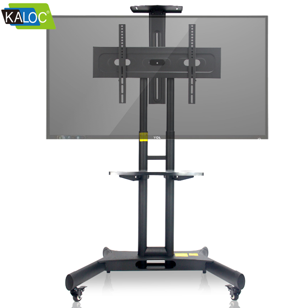 Vertical Motorized Tv Mobile Cart With 360 Degree Wheels