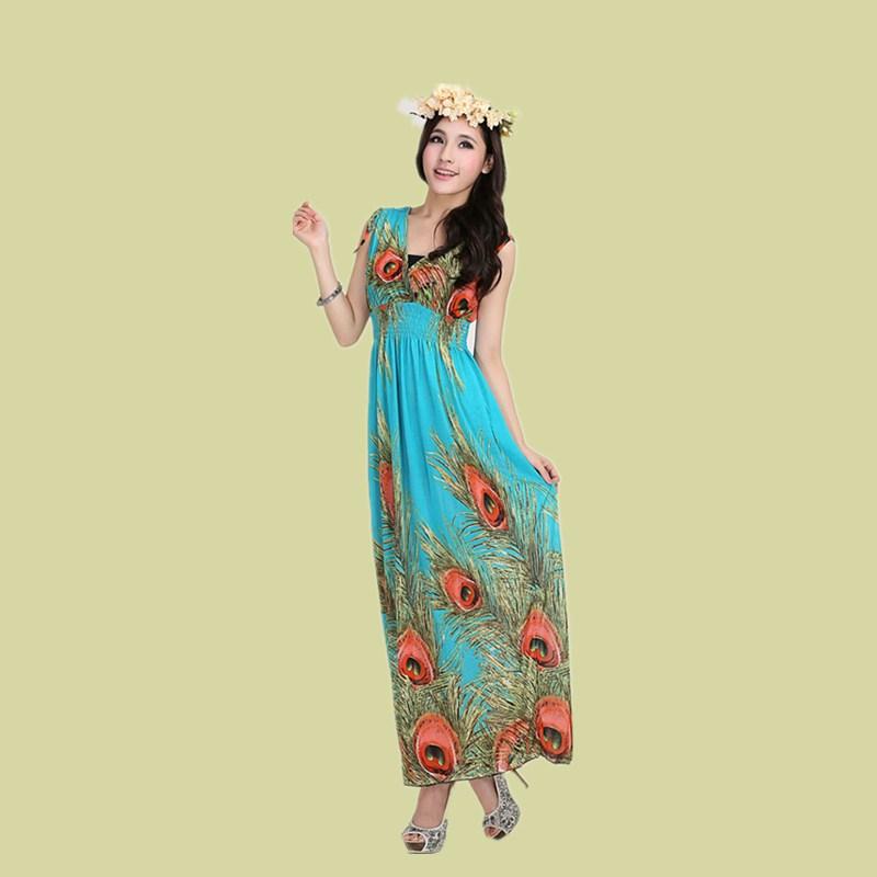 2016 Summer New Peacock Feather Design Dress Ice Silk ...