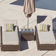 3 PCS Modern Leisure Patio Synthetic Wicker Furniture Outdoor PE Rattan Lounge Sun Bed With Table
