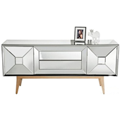 China factory modern glass furniture crystal mirrored TV stand