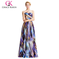 2016 Grace Karin Strapless Chiffon Ball Gown Multi Colors Prom Dress GK000036-1