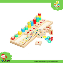 Wooden Arabic Dot Number Shape Colored Piled Stacker Montessori Math Counting Toys New Toys for Kid 2016