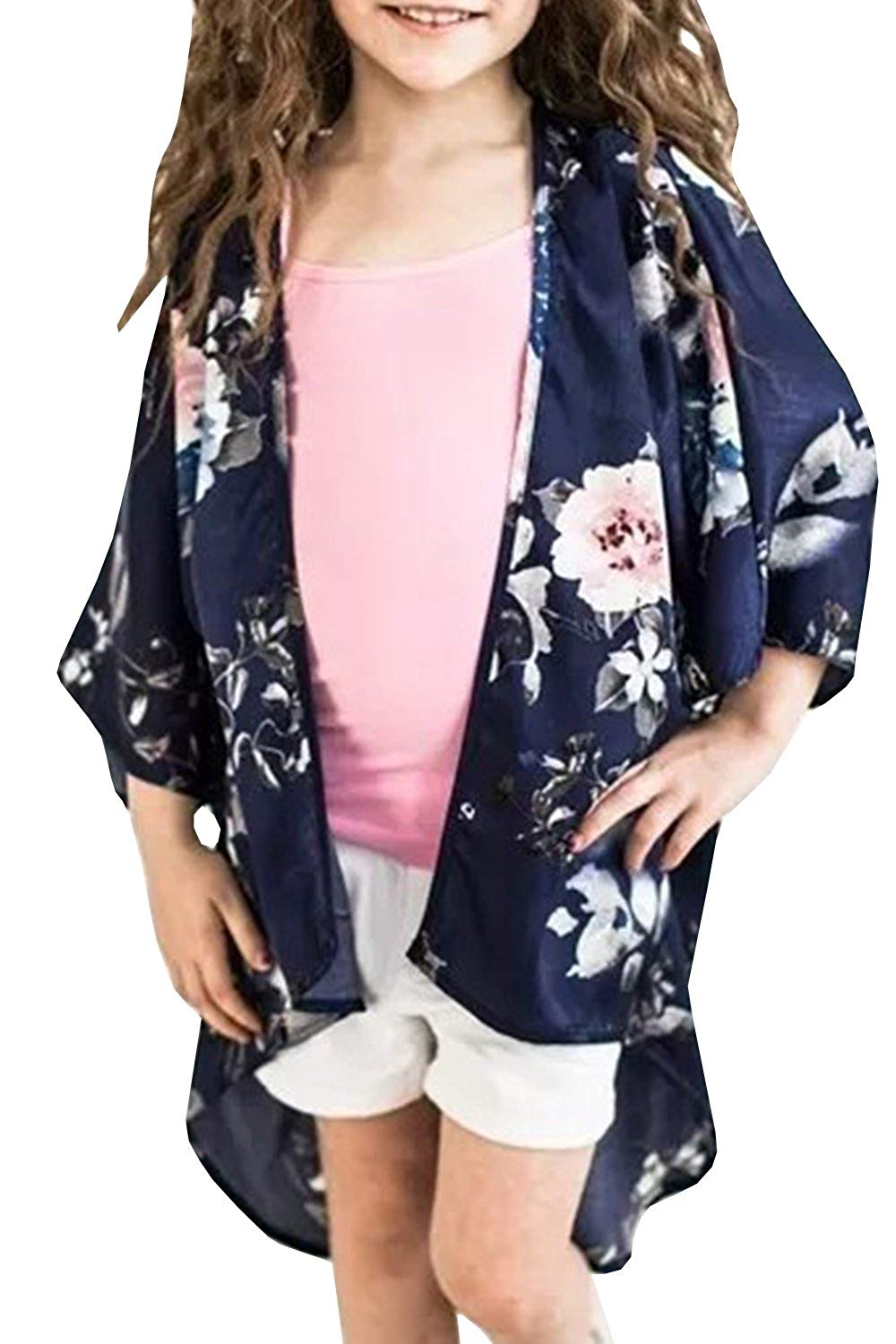 Get Quotations · PASLTER Baby Girls Floral Print Chiffon Kimono Cardigan Short  Sleeve Cover up Summer Coat d9d9429b4