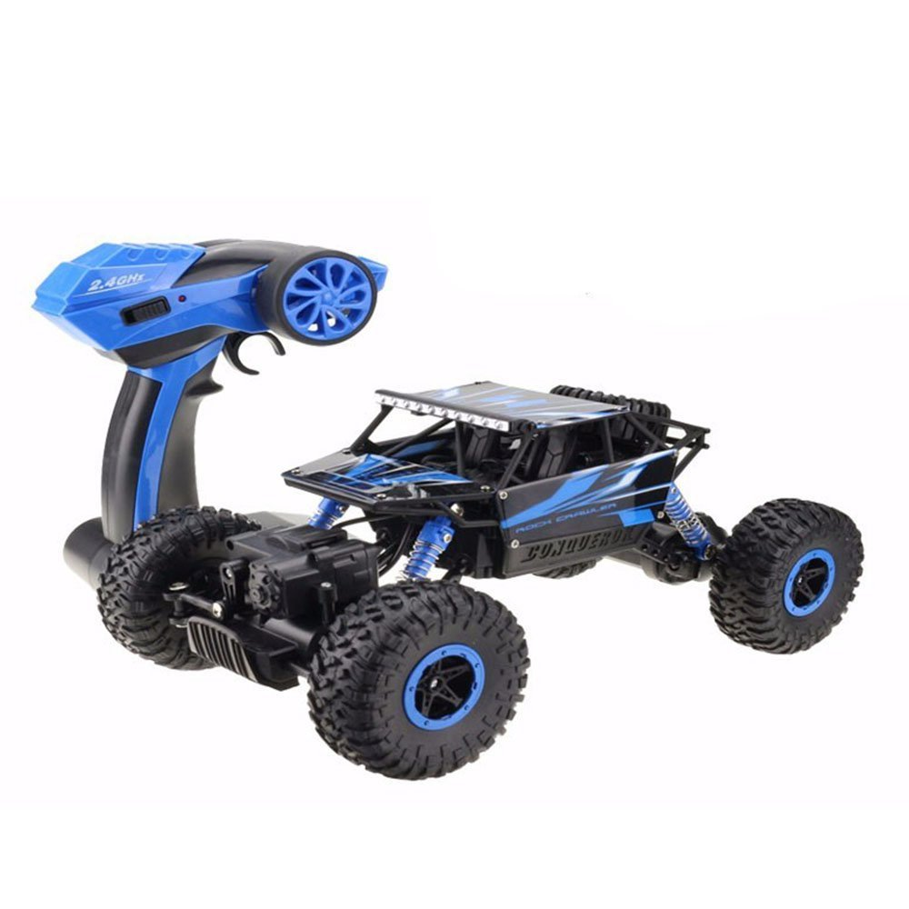 TonTech Rock Crawler RC Off Road Vehicle 2.4Ghz Remote Control 4x4 Driving Fast Race Car High Speed Dune Buggy Grass Sand Land Blue