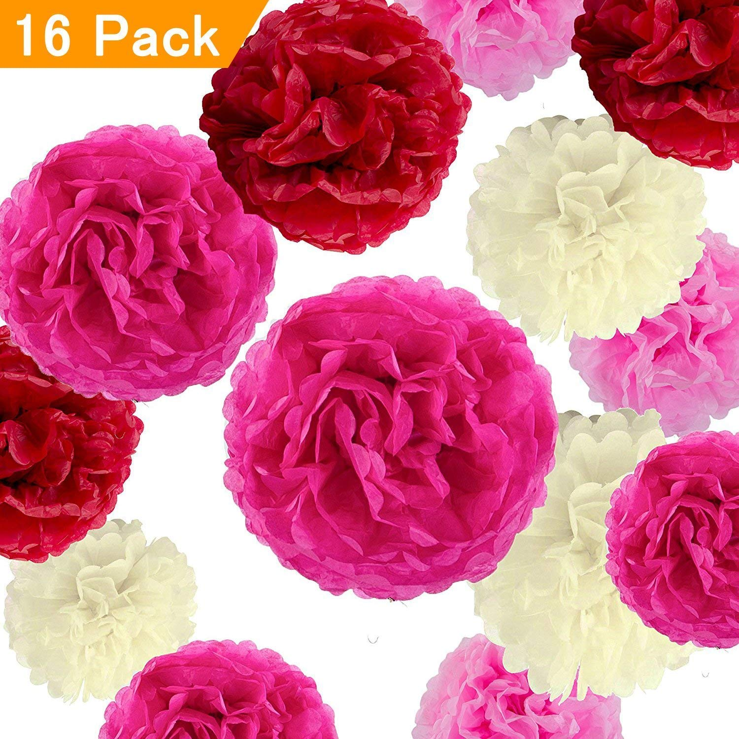 Tissue Paper Flowers,16Pcs Large Tissue Pom Poms Hanging Flower Garland,Eholder Honeycomb Balls Decor for Wedding Party Favor Birthday Christmas Halloween,Pom Garland (hot Pink,Ivory,Rose red,red)