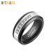 Black Tungsten white Cubic Zirconia CZ Inlay Wedding Rings for Men Band 8mm Inner Plated Black