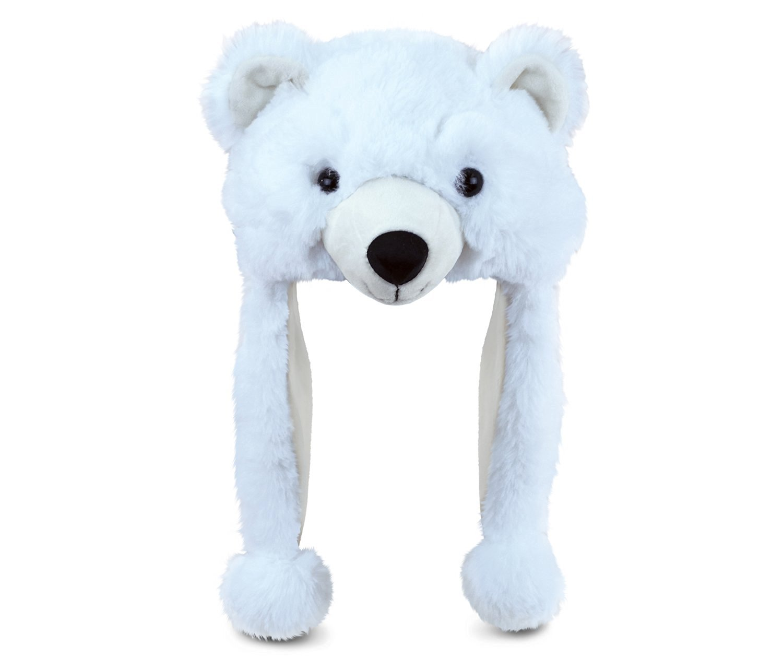 Puzzled Polar Bear Super-Soft Stuffed Plush hat Cuddly Animal Toy