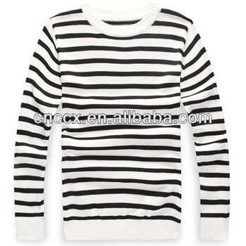 Pk17st234 Latest Design Black And White Striped Sweater Shirts For