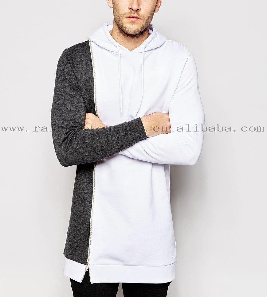 Super Longline two color montage longline zip through Hoodie