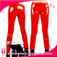 Sexy fashion women red leather tight pants