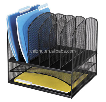 Black Wire Mesh Office Desk Organizer File Hoder Paper