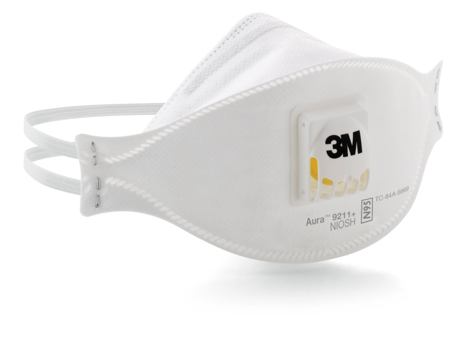3M Aura Particulate Respirator 9211+/37193(AAD) N95, Stapled Flat Fold Disposable, Exhalation Valve, 10 Per Box, 120 Dust Masks (Case of 12)