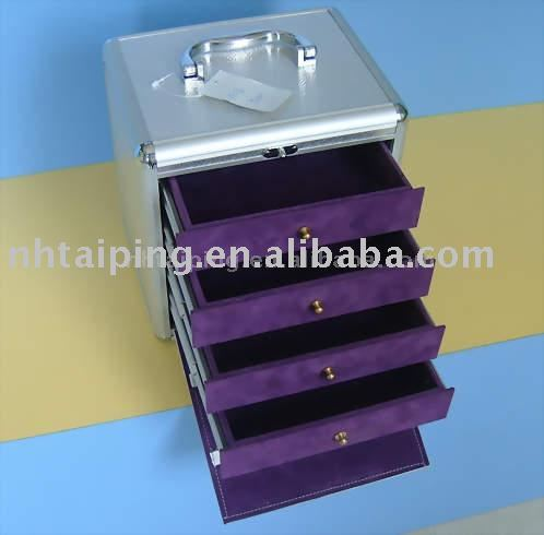 Wholesale aluminum cosmetic case make up case jewellery drawer case