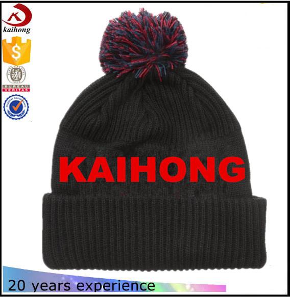 Kaihong Logo Pom Fur Hat Winter Cap Acrylic Knitted Hat Cc Beanie ...