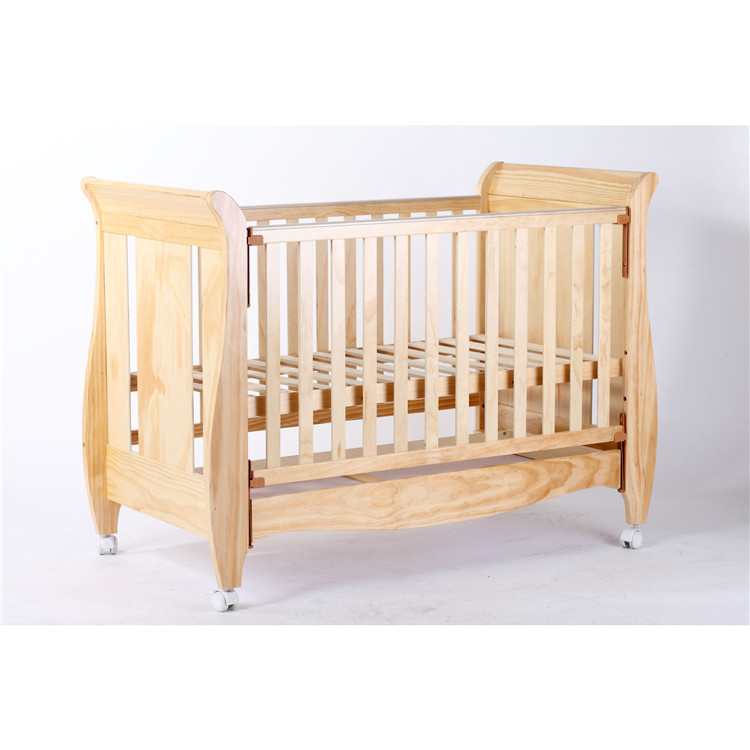 High Quality Modern Designs Sleigh Pine Wood Baby Crib